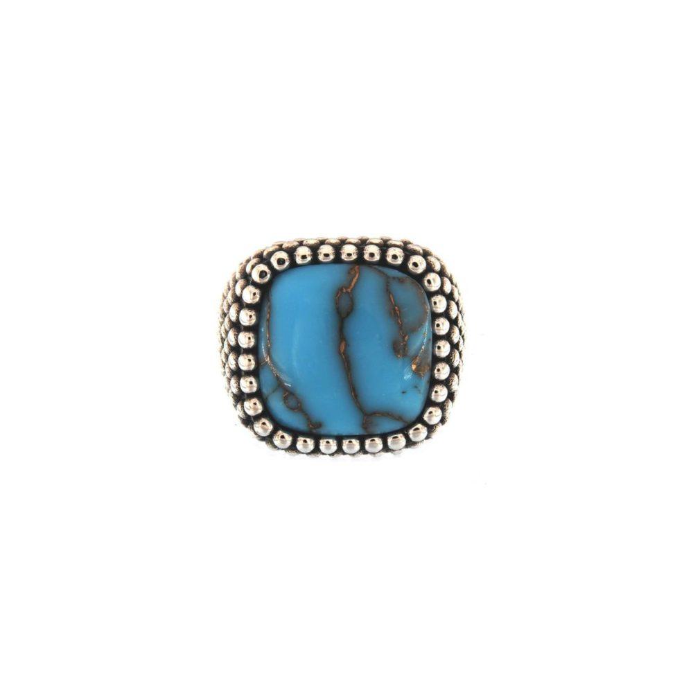 Anello Antique Sphere Turchese Blu Cabochon