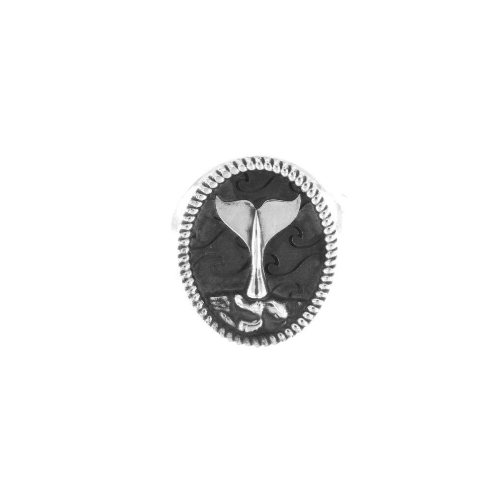 Anello Ovale Coda di Balena Argento Grande