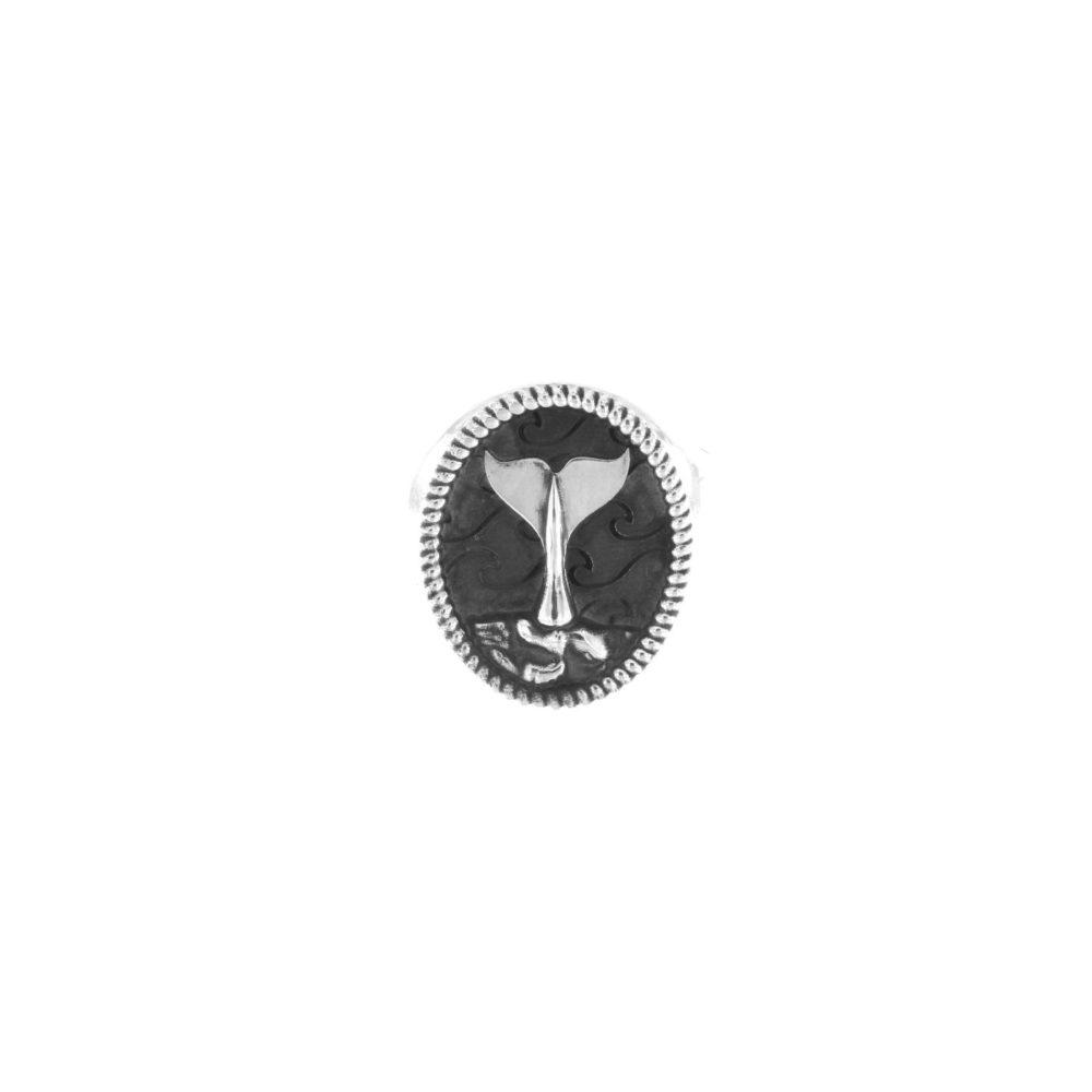 Anello Ovale Coda di Balena Argento Piccolo