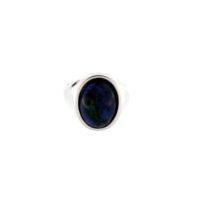 Anello Ovale Azzurrite Cabochon Grande