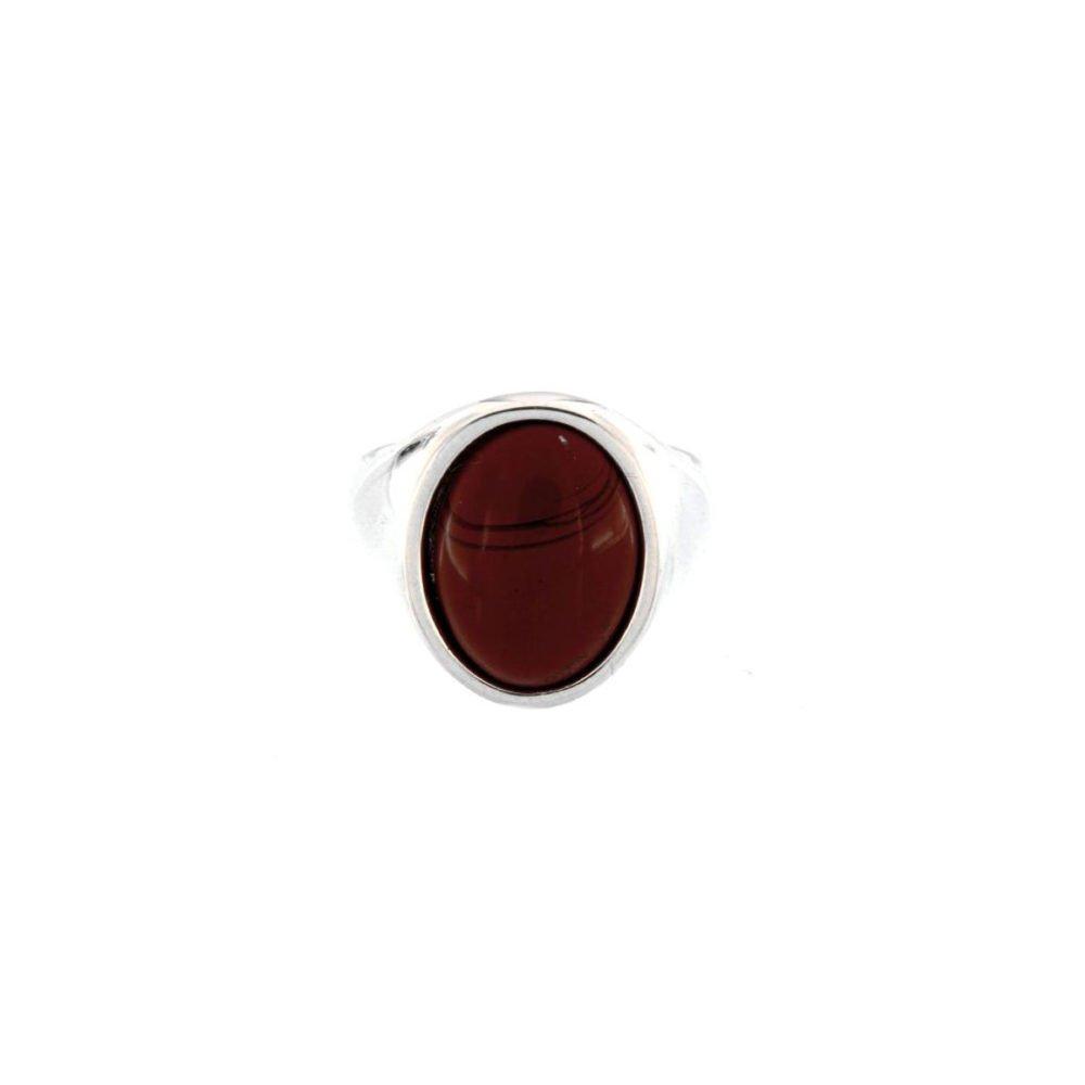 Anello Ovale Agata Bordeaux Cabochon Grande